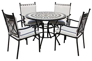 LG Outdoor Casablanca 4 Seat Round Dining Set   Black