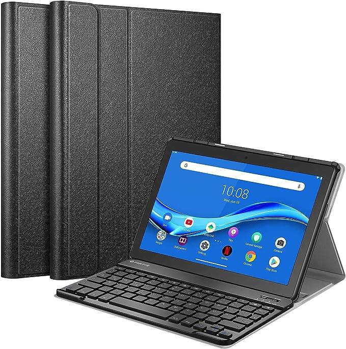 Fintie Funda con teclado compatible con Lenovo Tab M10 TB-X505F / TB-X505L / TB-X605F / TB-X605L, funda fina con teclado alemán QWERTZ Bluetooth ...