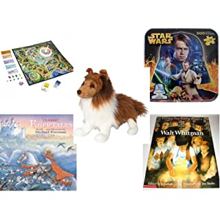 Children's Fun & Educational Gift Bundle - Ages 6-12 [5 Piece] - Includes: Game - Toy - Plush - Hardcover Book - Paperback Book - No. dbund-6-12-28601
