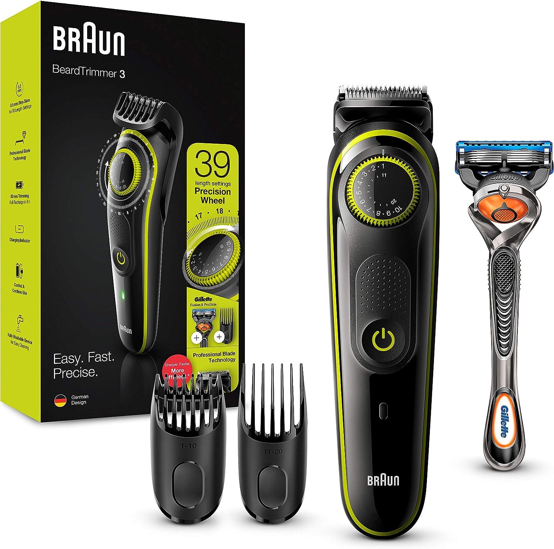 Braun BT3241 - Recortadora de Barba, Máquina Cortar Pelo, Recortadora de Barba y Cortapelos, para Hombre, Cuchillas Afiladas de Larga Duración, Eléctrico, Color Negro/Verde