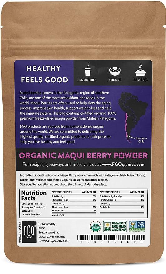 Amazon Com Organic Maqui Powder 4oz Resealable Kraft Bag 100