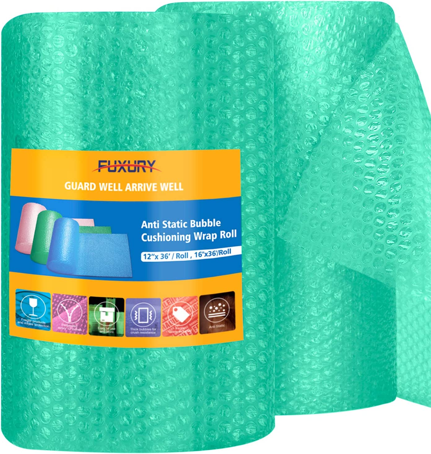 """Fuxury Green Anti-Static Bubble Cushioning Wrap Roll Air Bubble Roll 2 Rolls 72 Feet Total,Perforated Every 12"""",Included 20 Fragile Sticker Labels for Packaging Moving Shipping Boxes Supplies"""