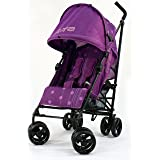 Buggy Stroller Pushchair With Large Sun Canopy Hood - Zeta Vooom - Plum Dots With Rain Cover