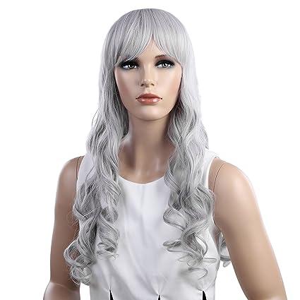 SONGMICS Longitud de 66 cm Color gris plateado Peluca larga y ondulada Peluca para mujeres Peluca
