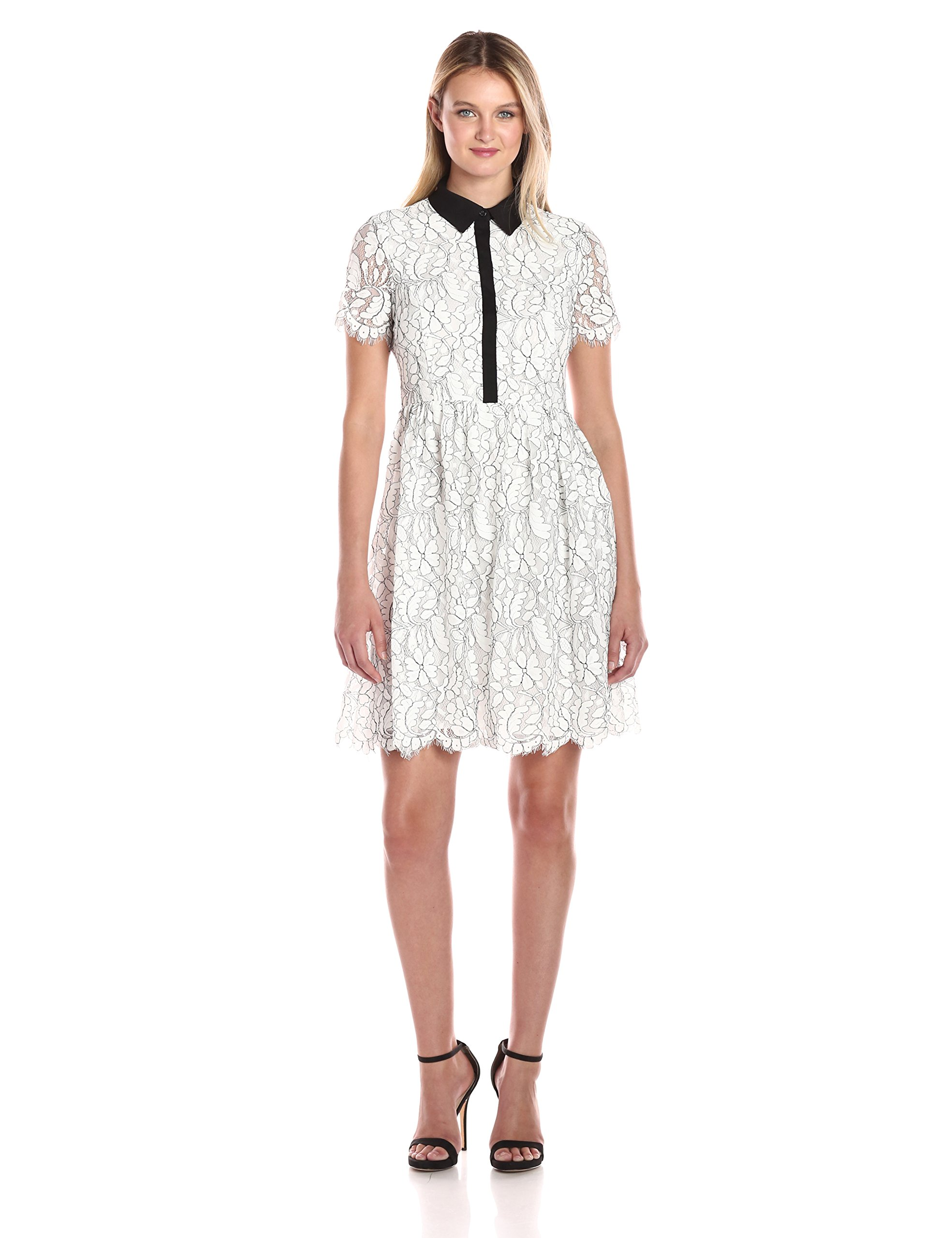 Tommy Hilfiger Women's Floral Outline Lace Shirt Dress, Ivory, 8
