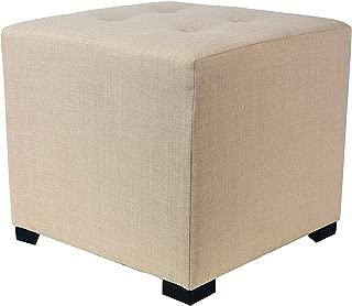 product image for MJL Furniture Designs Merton Designer Square 4 Button Tufted Upholstered Ottoman, Beige
