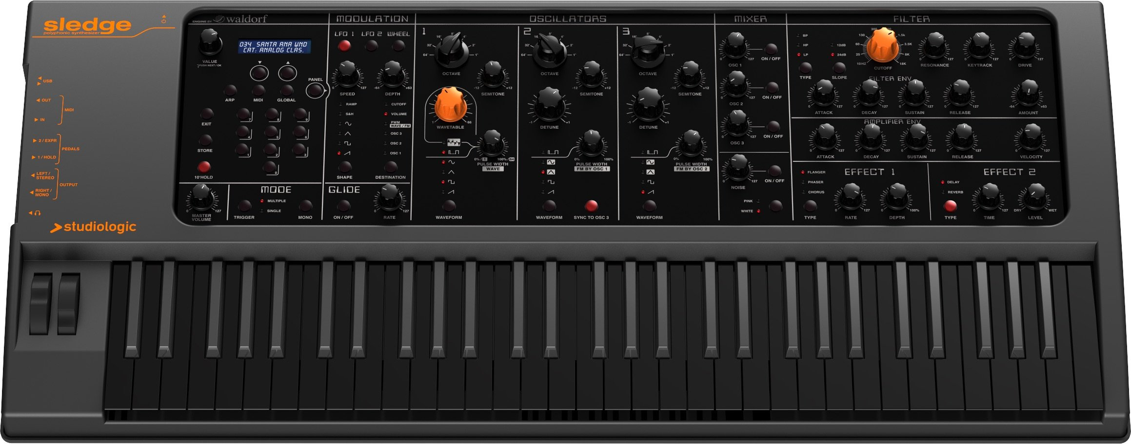 Studiologic Sledge 2 Black Edition Synthesizer with 61-Key Semi-Weighted Keyboard by Studiologic