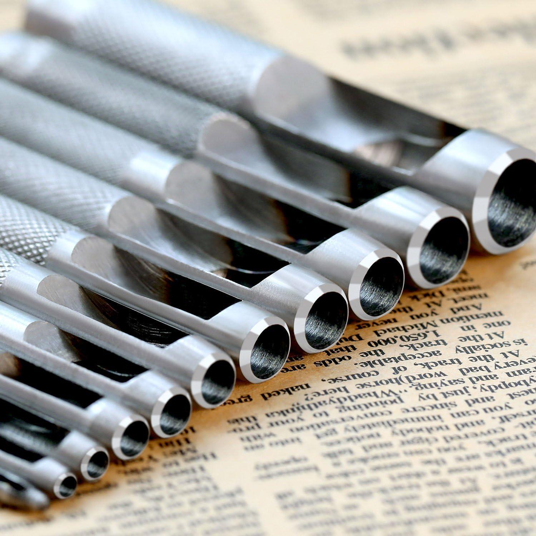 Set di Punzoni Foro Pugno Strumento Mano DIY 3 mm a 19 mm Forata Strumenti per la Pelle Cinturino per Orologio metallo qipuneky,Rotondo Punzone Cavo in Acciaio