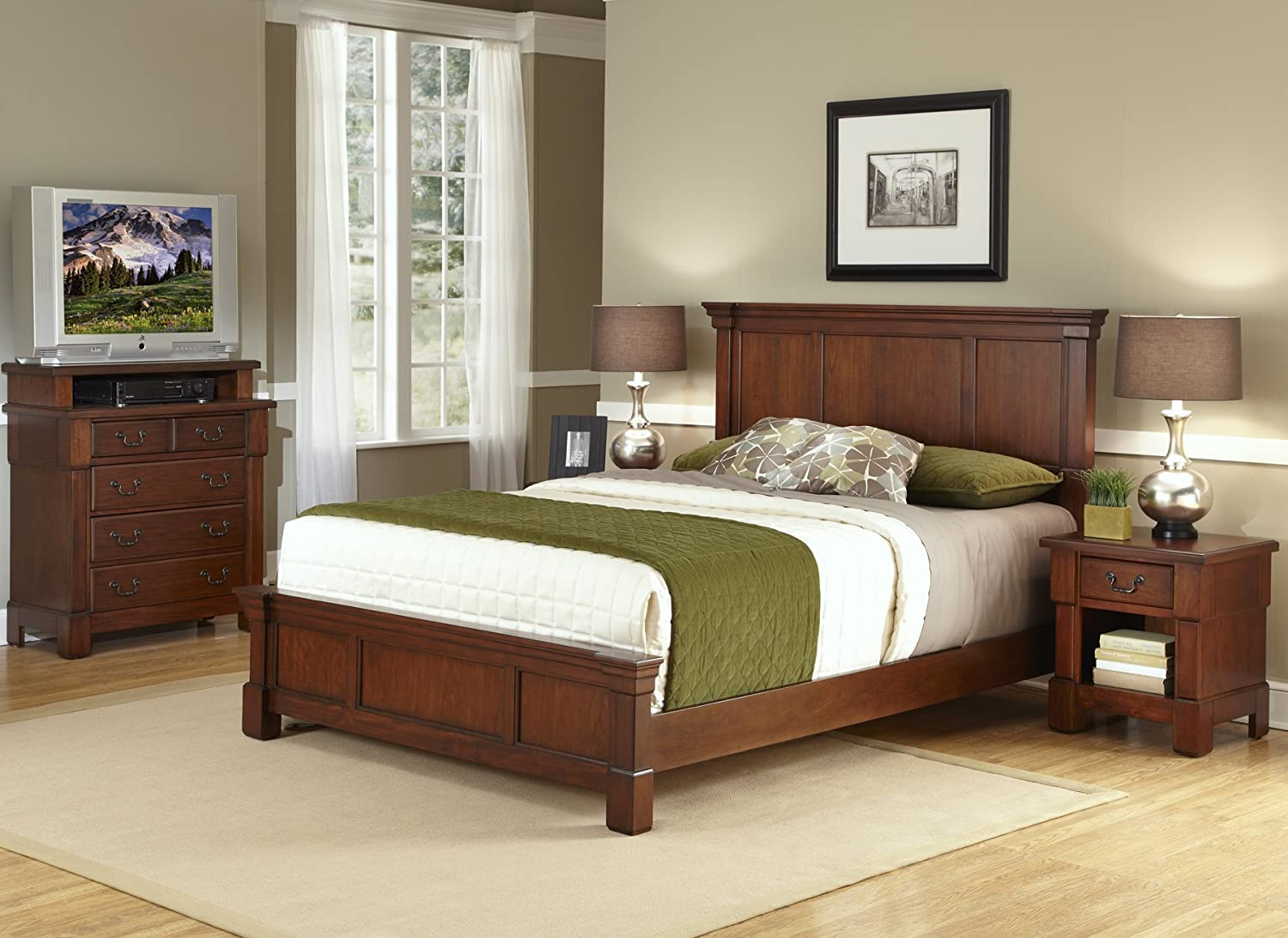 Home Styles The Aspen Collection Queen Bed - Media Chest and Night Stand