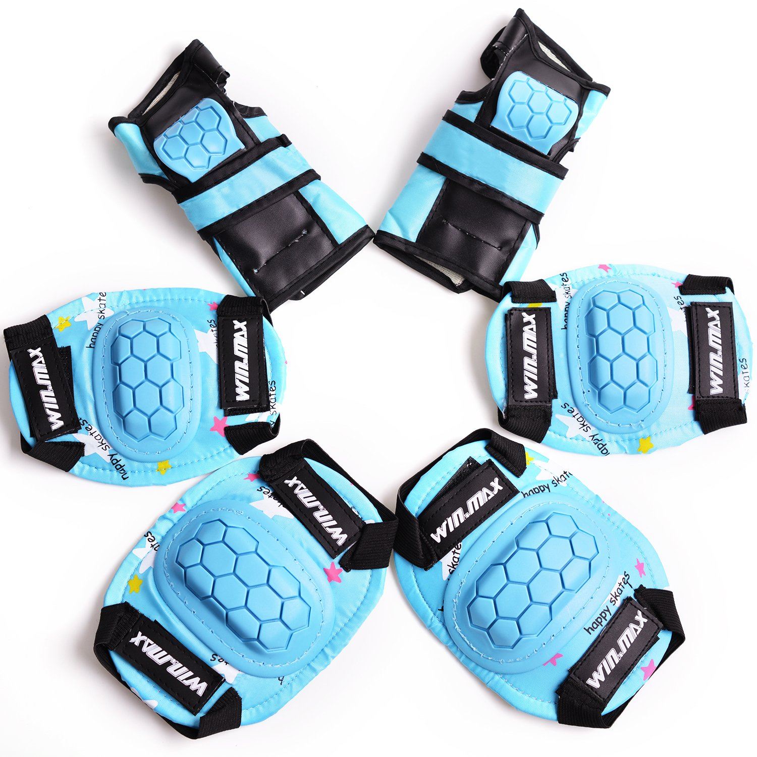 WIN.MAX Protective Gear Pads (Knee pads+Elbow pads+wrist pads) Kids Children Roller Skating Skateboard BMX Scooter Cycling (blue)