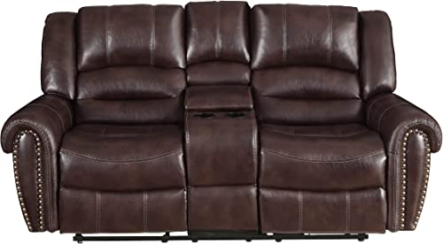 Homelegance Center Hill 83″ Double Glider Reclining Loveseat