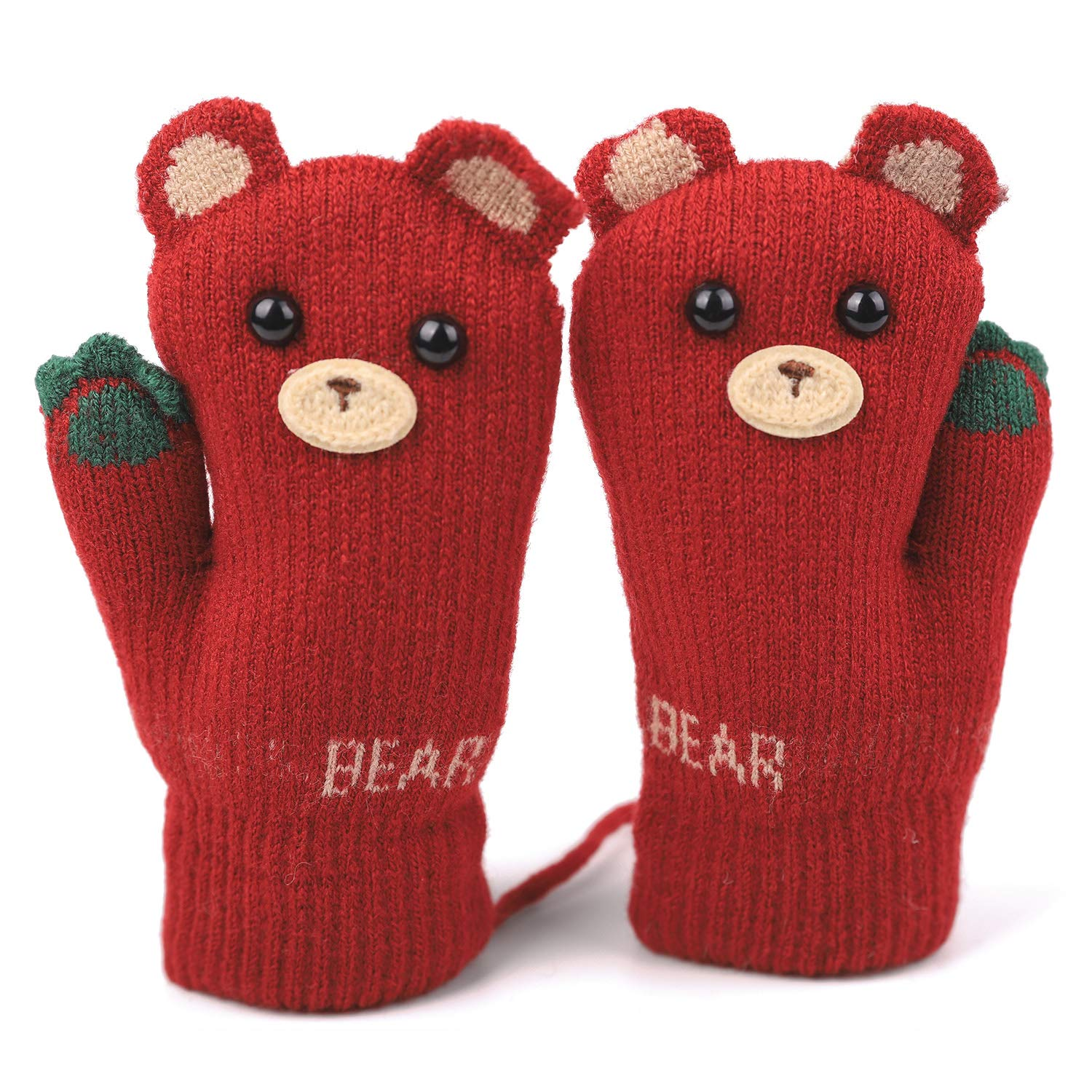 HomeDay Kids Knitted Mittens with String Fluffy-Lined Winter Thicken Gloves (2~5 years)
