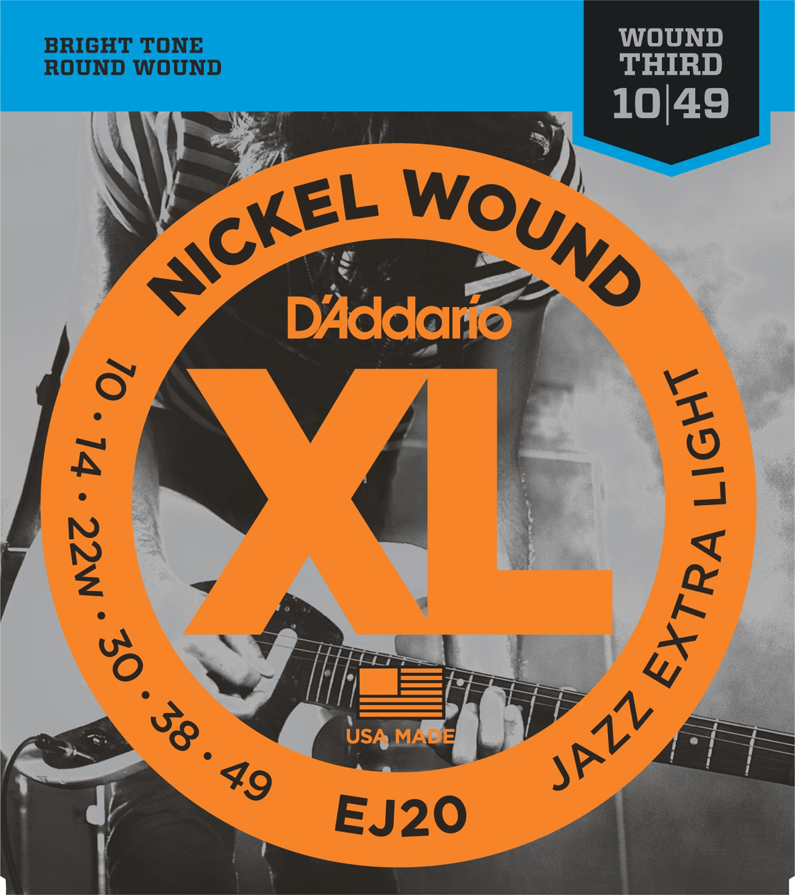 D'Addario EJ20 Nickel Wound Electric Guitar Strings, Jazz Extra Light, 10-49 product image