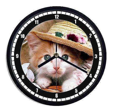 Reloj de pared de plástico Gatos Cachorros sombrero