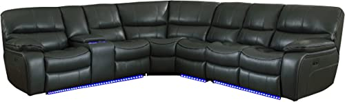 Homelegance Pecos 105 x 117 Leather Gel Power Reclining Sectional with LED, Gray