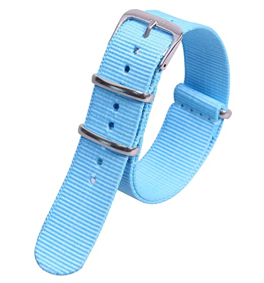 20mm azul súper blando de la NATO correas de reloj de estilo de lona de nylon