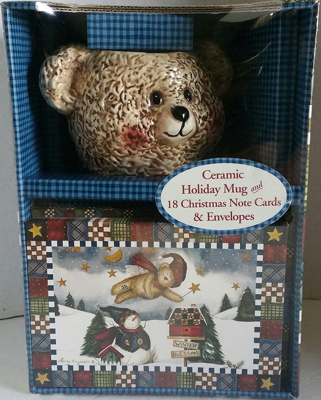 CERAMIC TEDDY BEAR HOLIDAY MUG AND 18 CHRISTMAS NOTE CARDS /& ENVELOPES
