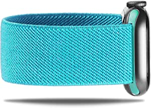 NOLIKO Compatible with Apple Watch Band 38mm 40mm 42mm 44mm Women Scrunchie Sport Elastic Cute Stretchy Nylon Solo Loop Strap for iWatch Series 6 5 4 3 SE, Men, Aqua Blue 38/40 S