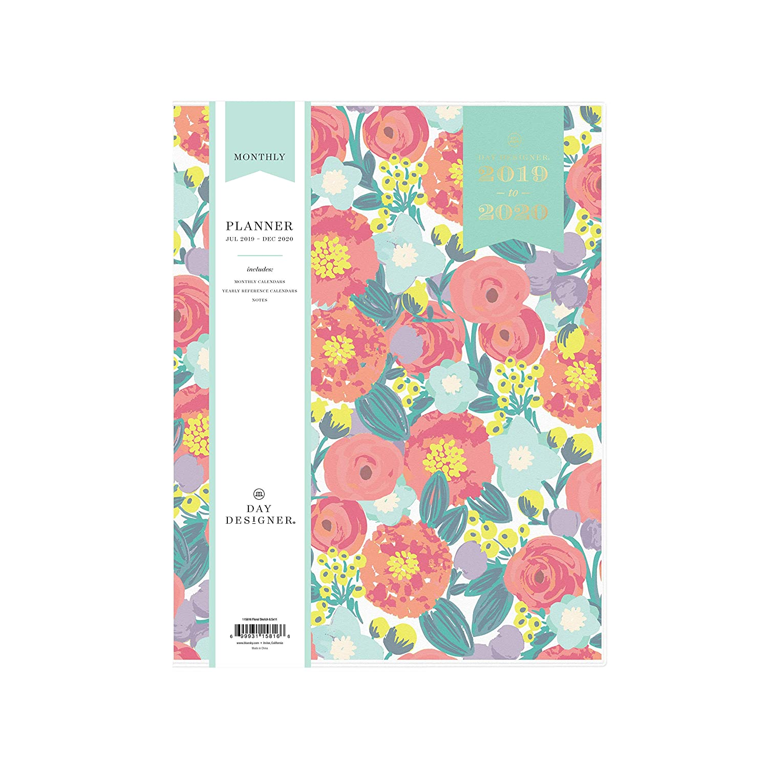 "Day Designer For Blue Sky 2019 2020 Academic Year Monthly Planner, Flexible Cover, Stapled Binding, 8.5"" X 11"", Floral Sketch by Blue Sky"