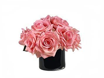 RG Style Silk Roses in Decorative Vase Artificial Floral Arrangement