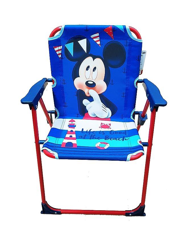 Takestop® silla plegable Mickey Mickey Ratón Disney azul rojo para niños infantil niño Camping dormitorio Mar Playa Jardín de Metal y Plástico con ...