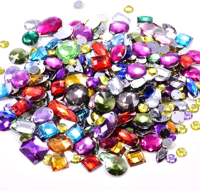 BLINGINBOX 300pcs//pack Mixed Shapes Crystal Acrylic Sew On Rhinestones Mixed Sizes Sewing Rhinestones Acrylic Stass Black