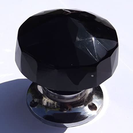 Amazon.com: Black glass door knobs, large crystal cut multifaceted ...