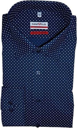 marvelis Modern Fit Camisa de manga extra larga de costura azul al 69 azul 46: Amazon.es: Ropa y accesorios