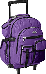 Everest Deluxe Wheeled Backpack, Dark Purple, One Size