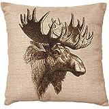 Lfarncomboutlet Vintage Moose Burlap 2155 Cotton Linen Square Throw Pillow Case Cushion Cover 18 x 18 Inches