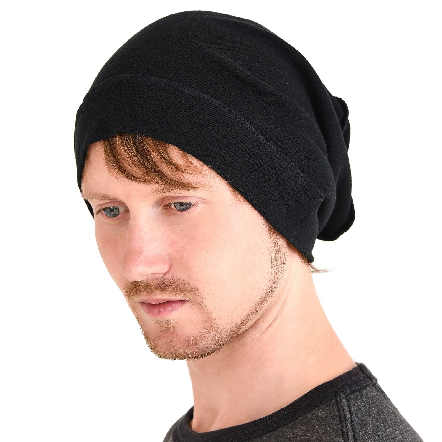 Amazon.com  CHARM Mens Slouch Beanie Hat - Womens Organic Cotton Slouchy  Hipster Chemo Knit Casualbox Black  Clothing 0e93a0d5055
