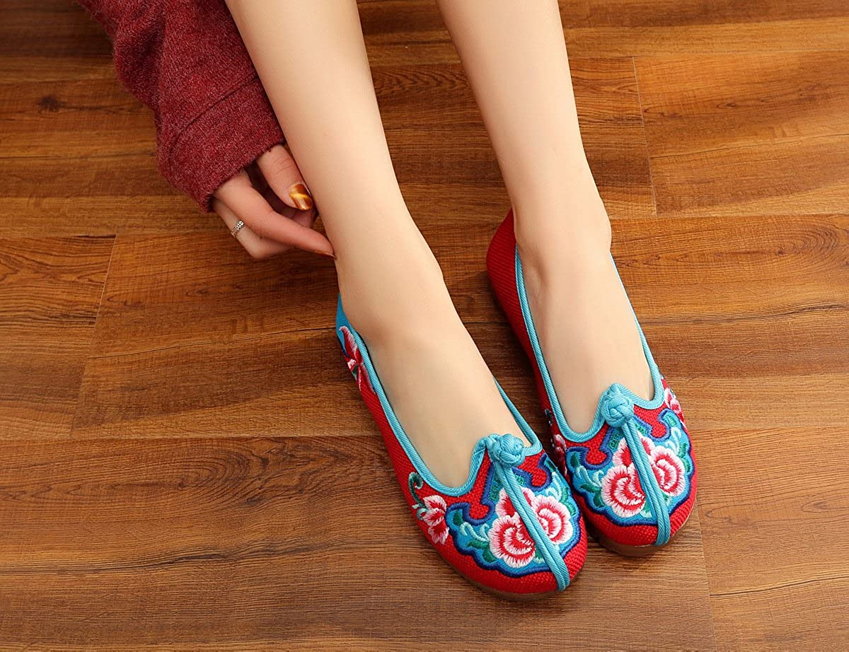 Fanwer Women Chinese Knotting Cloth Embroidery Loafers Walking Shoes