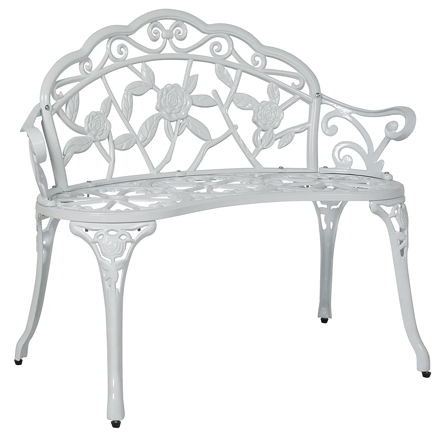 Best Choice Products Floral Rose Accented Metal Garden Patio Bench w Antique Finish – White