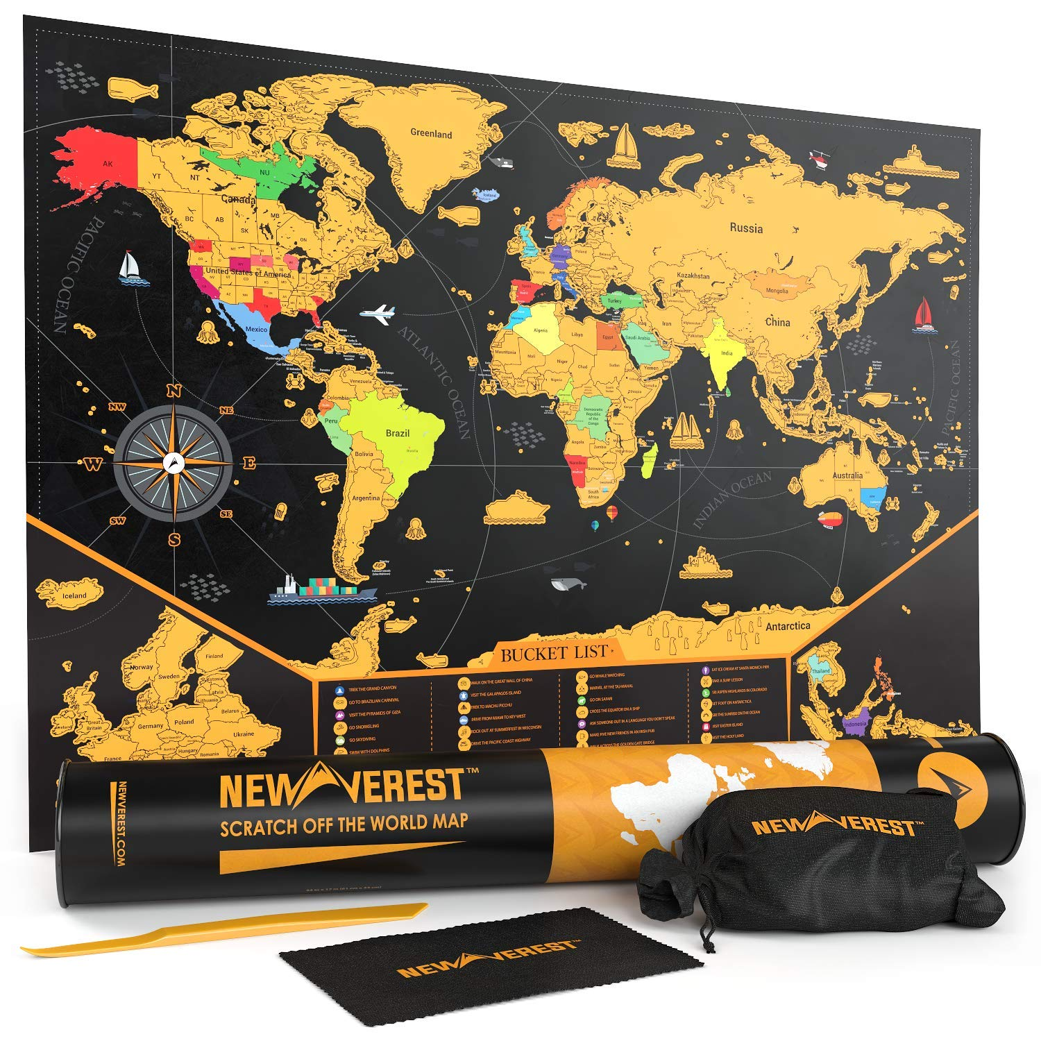 Scratch Off Map of The World, Detailed Travel Art Poster, Fits 17 x 24 Frame, Comes with Scratch Tool, 20 Push Pins, 4 Stickers, Cleaning Cloth, Carry Bag + Gift Tube by Newverest
