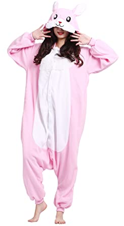 Taigood Unisex Adult Animal Pajamas Plush One Piece Cosplay Pink Rabbit (148-187cm)