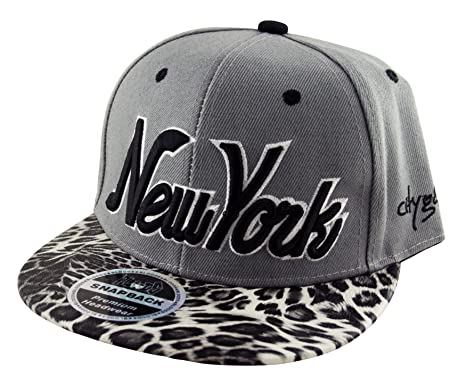 9f2a6336659 Image Unavailable. Image not available for. Colour  New York NY Leopard  Print Peak Snapback Fitted Cap Baseball Hat ...
