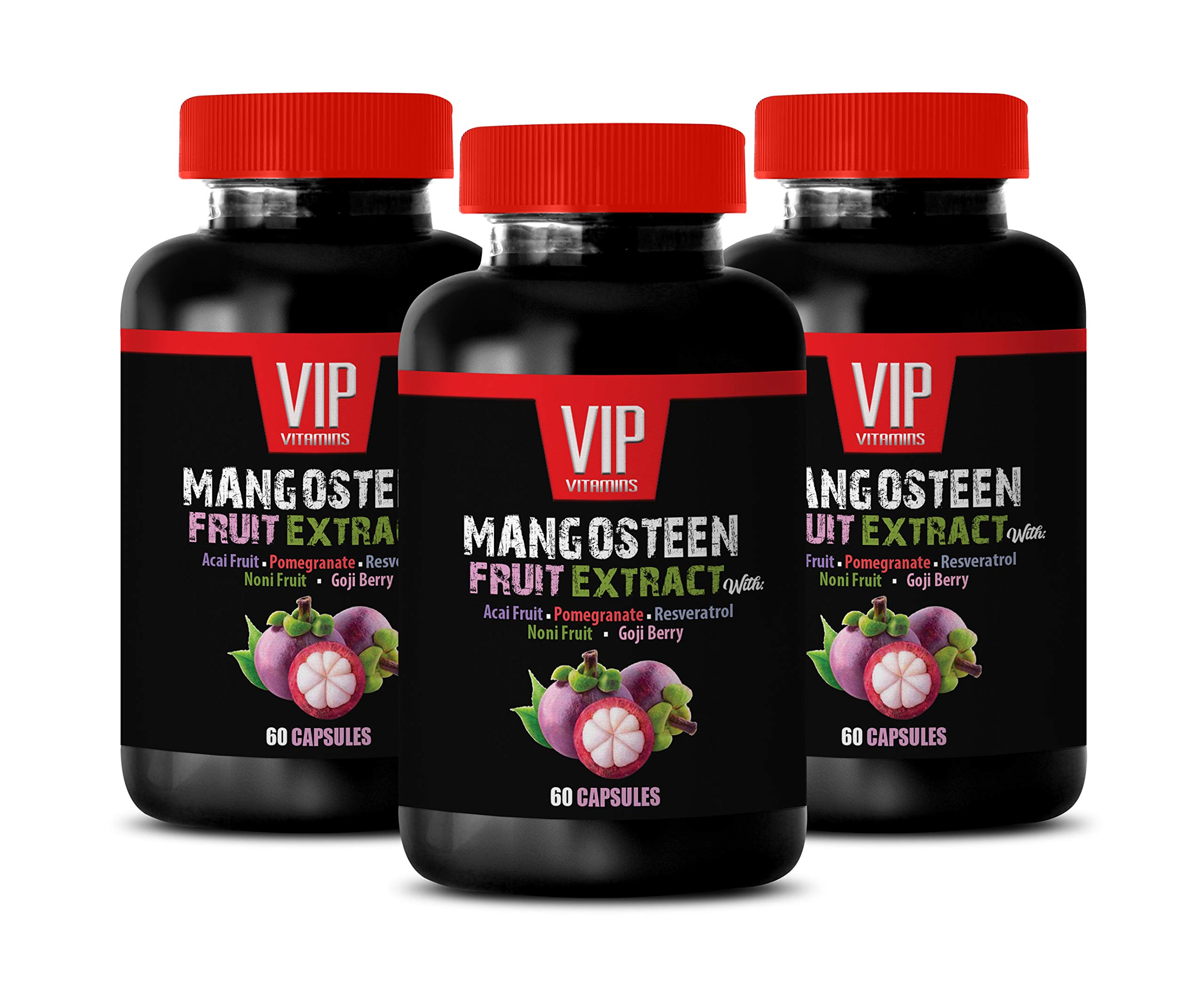 Immune System Natural Pills - Mangosteen Fruit Extract with ACAI Fruit, Pomegranate, RESVERATROL, NONI Fruit, Goji Berry - Acai Berry Pills - 3 Bottles 180 Capsules