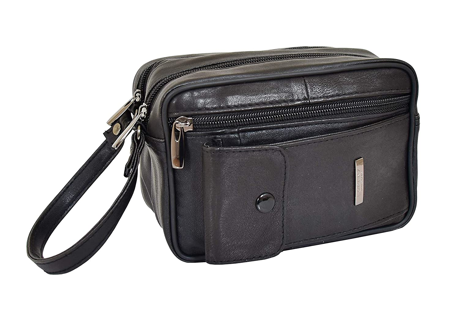Gents Real Leather Wrist Bag Clutch Travel Black Cab Money Mobile Man Bag - Mason