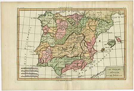 Envejecido map-spain-portugal-iberian peninsula-bonne-1780: Amazon.es: Hogar