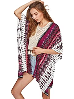 10257409afcf8 Swim, Beach Cover Up, Women Boho Chiffon Kimono Cover-ups, Cardigan ...