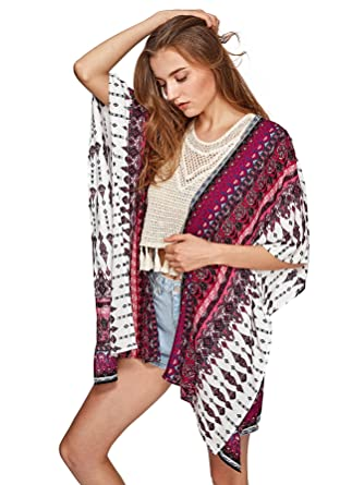 SweatyRocks Women Kimono Vintage Floral Beach Cover Up at Amazon ... 858725f7f