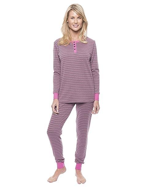 Conjunto Pijama Slim de Jersey Double Layer - Mujer - Rayas Carbón/Rosa - XL