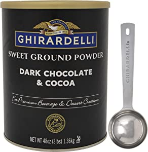 Ghirardelli Sweet Ground Dark Chocolate & Cocoa Powder, 3 Pound Can with Limited Edition Measuring Spoon
