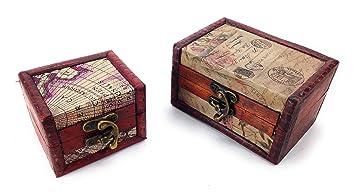 129d21eaa9 アンティーク調 ヨーロピアンな 木製 宝箱型 小物入れ 大小 2個セット アクセサリーの撮影