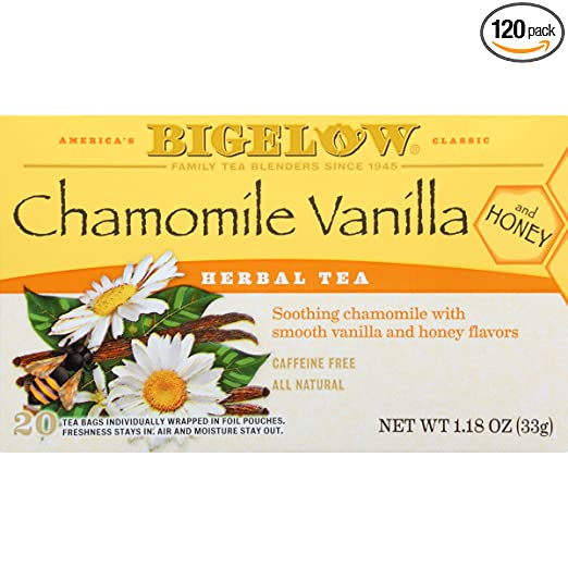 Bigelow Chamomile Vanilla Herbal Tea With Honey 20 Count (Pack of 6) Caffeine-Free Individual Herbal Tisane Bags, for Hot Tea or Iced Tea, Drink Plain or Sweetened with Honey or Sugar