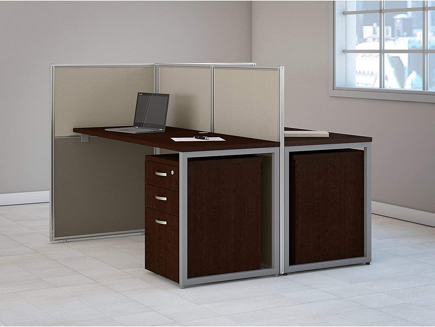 Bush Business Furniture Easy Office 60W Two Person Straight Desk Open Office with Mobile File Cabinets in Mocha Cherry