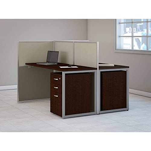 Bush Business Furniture Easy Two Person Straight Desk Open Office with Mobile File Cabinets, 60W, Mocha Cherry Satin