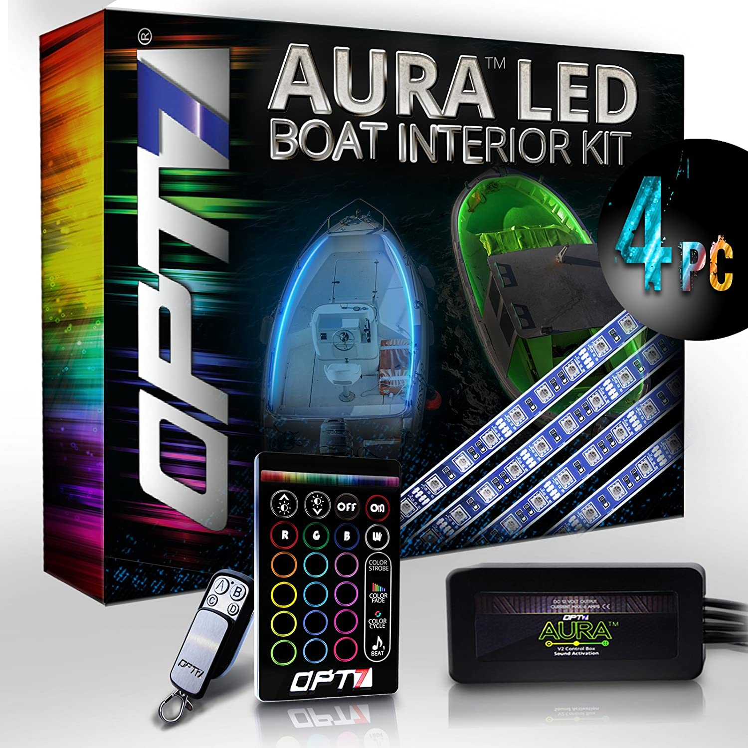 Opt7 Boat Interior Glow Led Lighting Kit Multi Color Wiring Lights On A Accent Neon Strips W Switch Automotive
