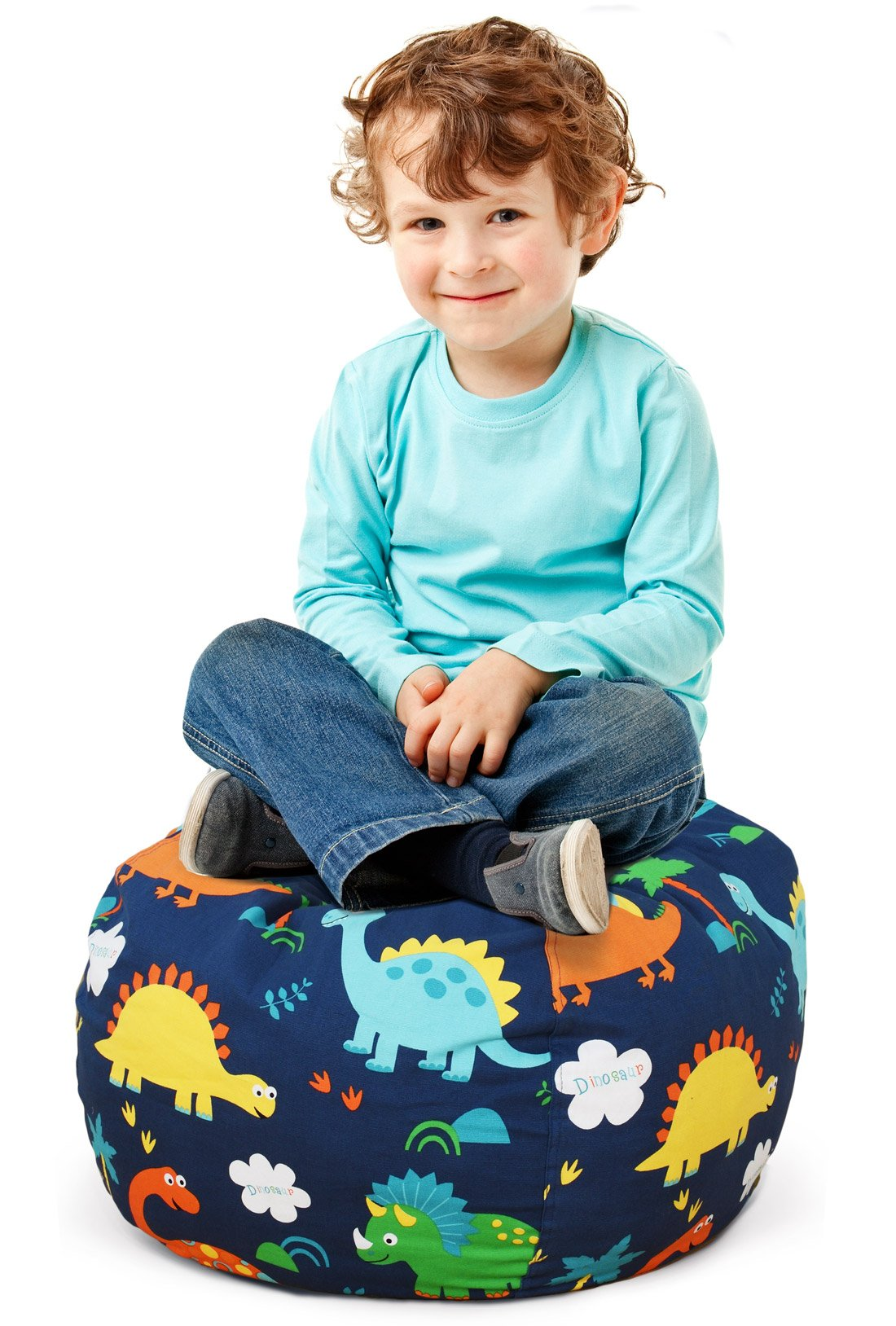 BROLEX 27'' Stuffed Animals Bean Bag Chair Cover-100% Cotton Canvas Kids Toy Storage Zipper Bags Comfy Pouf for Unisex Boys Girls Toddlar, Dinosaur Print