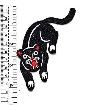 Parche bordado con diseño de gato negro con texto en inglés